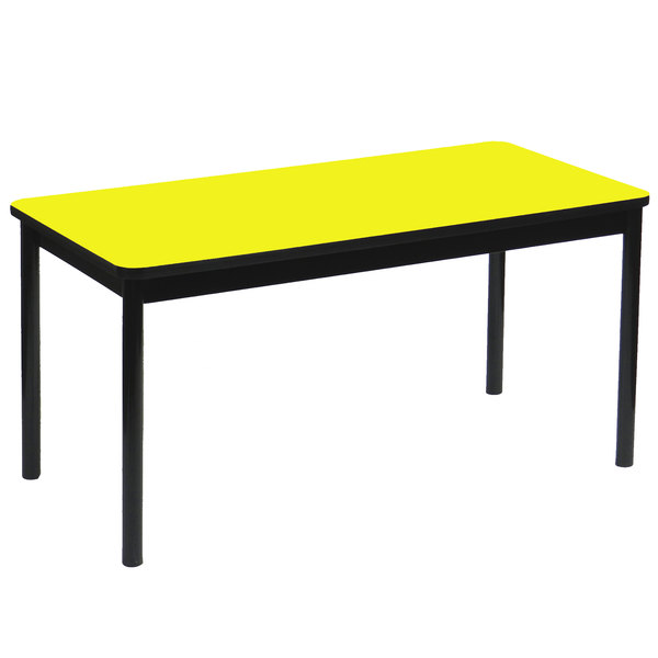 """Correll LR2448-38 24"""" x 48"""" Yellow Library Table - 29"""" Height"""