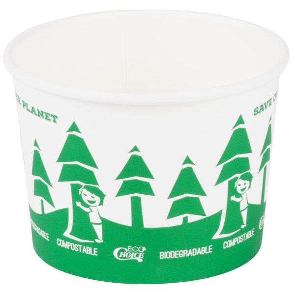 EcoChoice 16 oz. Compostable Paper Food Cup with Tree Design - 500/Case