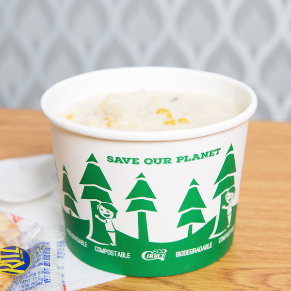 EcoChoice 16 oz. Compostable and Biodegradable Paper Food Cup with Tree Design - 500/Case Main Image 2