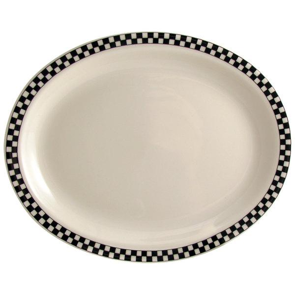 "Homer Laughlin by Steelite International HL1551636 Black Checkers 11 3/4"" x 8"" Ivory (American White) Rolled Edge Oval Platter - 12/Case Main Image 1"