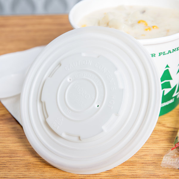 EcoChoice 12-32 oz. Translucent Compostable Soup / Hot Food Cup Vented Lid - 500/Case
