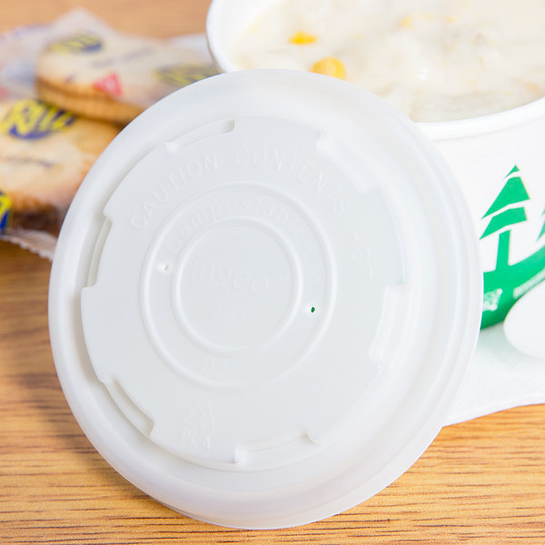 EcoChoice 8 oz. Compostable Soup / Hot Food Cup Vented Lid - 25/Pack