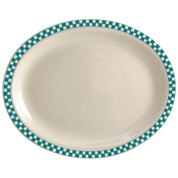 """Homer Laughlin 1571789 Turquoise Checkers 13 3/8"""" x 9"""" Ivory (American White) Rolled Edge Oval Platter - 12/Case"""