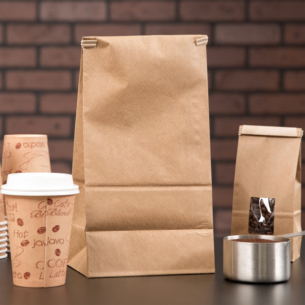 3 lb. Brown Kraft Customizable Paper Coffee Bag with Reclosable Tin Tie - 250/Case