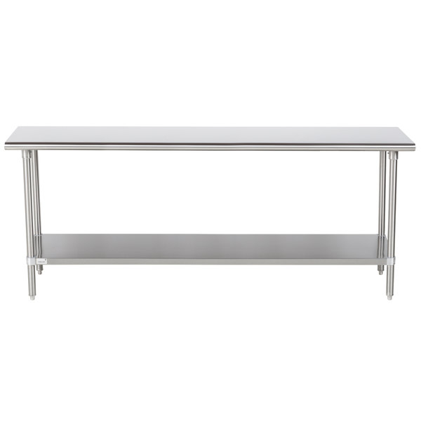"""Advance Tabco Premium Series SS-247 24"""" x 84"""" 14 Gauge Stainless Steel Commercial Work Table with Undershelf"""