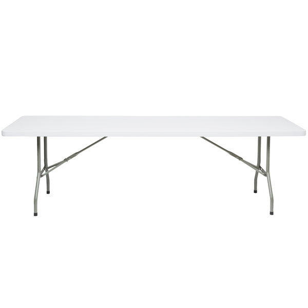Lancaster Table & Seating 30 inch x 96 inch Heavy Duty Granite White Plastic Folding Table