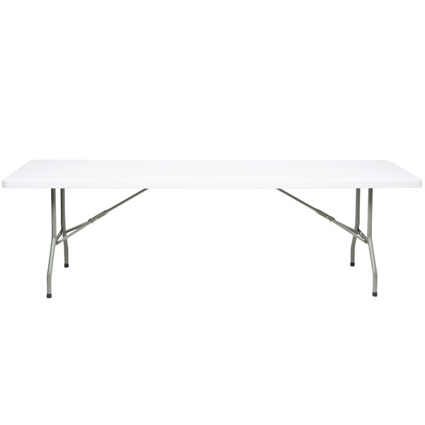 Lancaster Table & Seating 30 inch x 96 inch Heavy Duty White Granite Plastic Folding Table