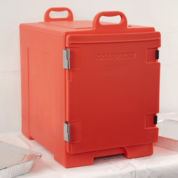 """CaterGator 16 3/4"""" x 24"""" x 25"""" Red Front Loading Insulated Food Pan Carrier"""