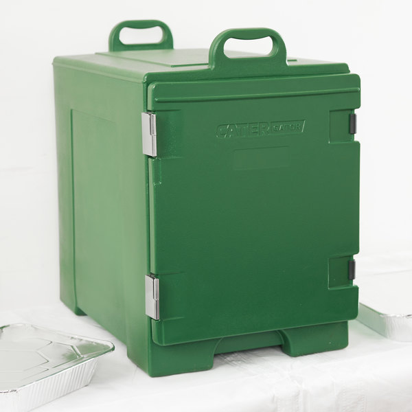 "CaterGator 16 3/4"" x 24"" x 25"" Green Front Loading Insulated Food Pan Carrier"