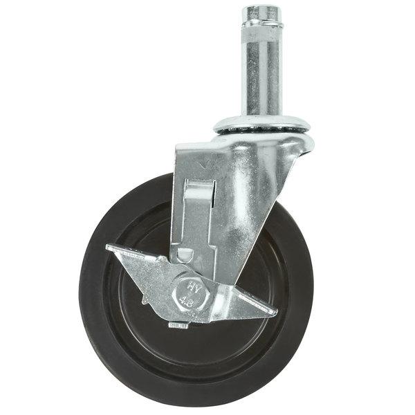 """Regency 5"""" Rubber Shelving Swivel Stem Caster with Brake Main Image 1"""
