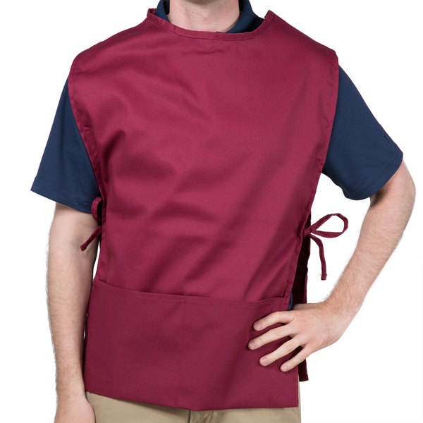 "Choice 29"" x 20"" Burgundy Poly-Cotton Cobbler Apron with Two Pockets"
