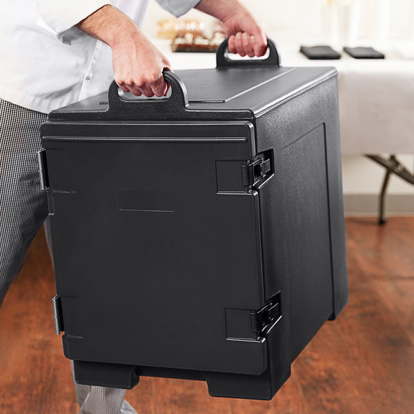 Black Front Loading Insulated Food Pan Carrier - Holds 5 Pans