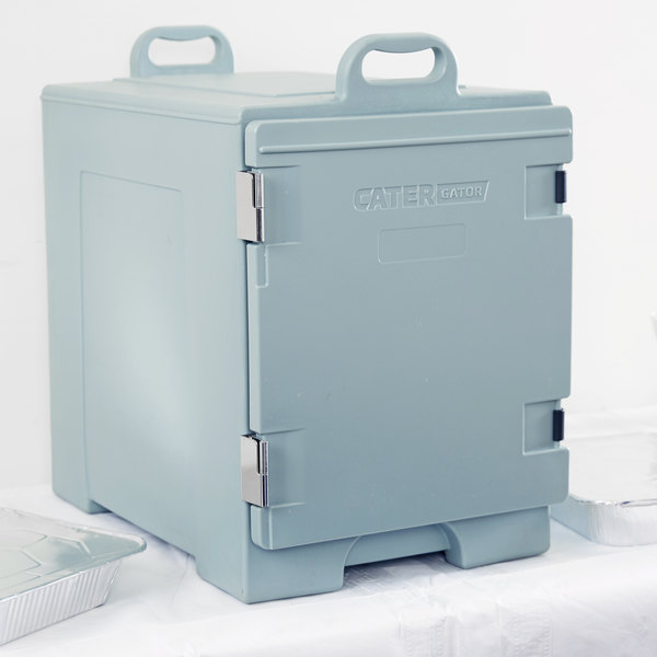 """CaterGator 16 3/4"""" x 24"""" x 25"""" Slate Blue Front Loading Insulated Food Pan Carrier"""