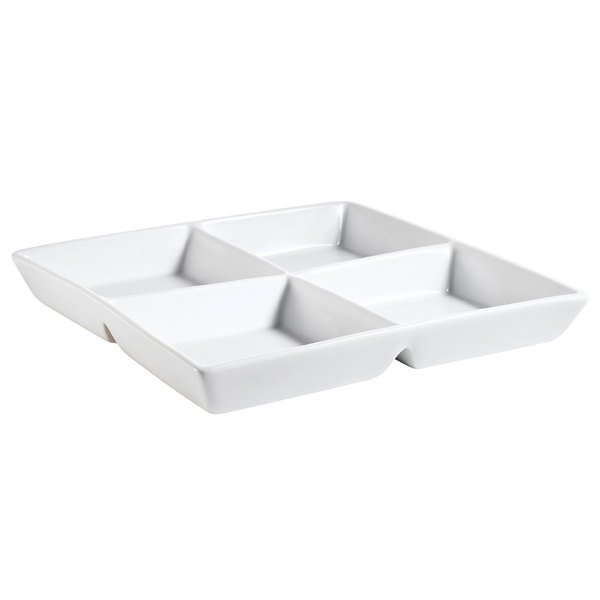 "CAC CMP-D12 12"" Bright White Porcelain Square 4 Compartment Tasting Tray - 12/Case Main Image 1"