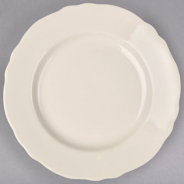 "Homer Laughlin 54400 Carolyn 9"" Ivory (American White) Scalloped Edge Plate - 24/Case"