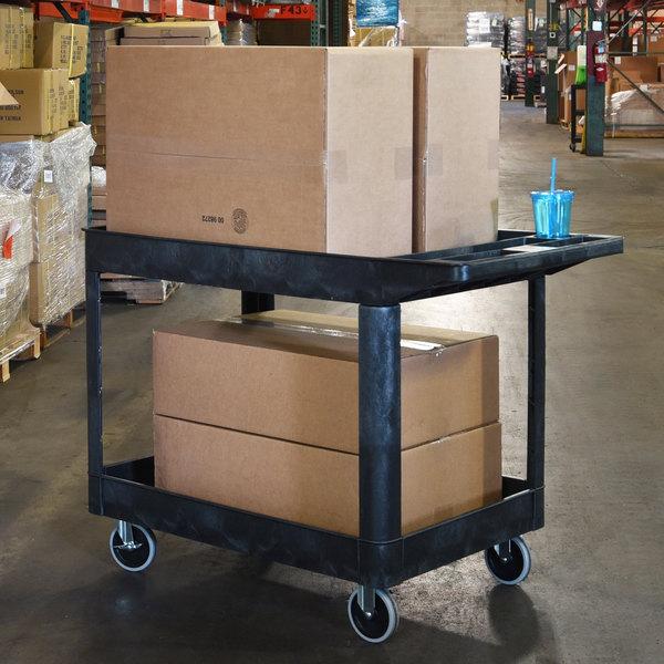 "Luxor XLC11-B Black Two Tub Shelf Heavy-Duty Utility Cart - 24 1/2"" x 45 1/2"" x 33"""