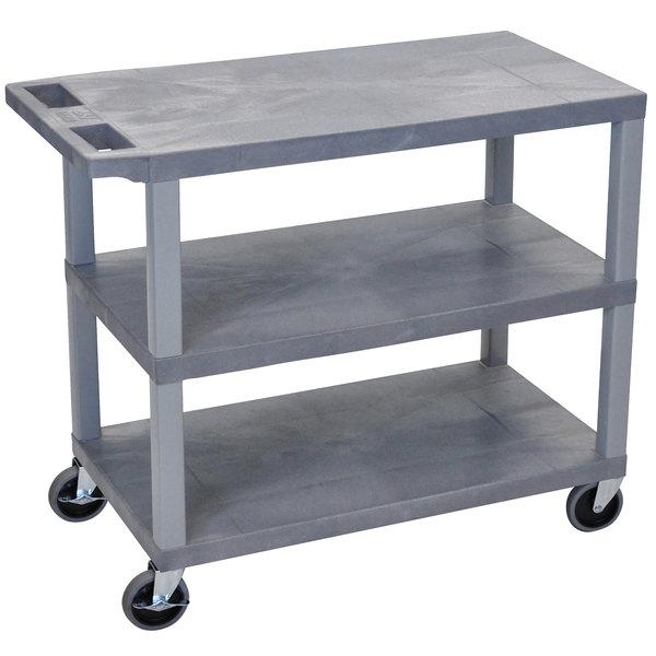 "Luxor EC222-G Gray 3 Flat Shelf Utility Cart - 32"" x 18"""
