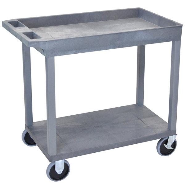 "Luxor EC12HD-G Gray 1 Tub and 1 Flat Shelf Utility Cart - 32"" x 18"""