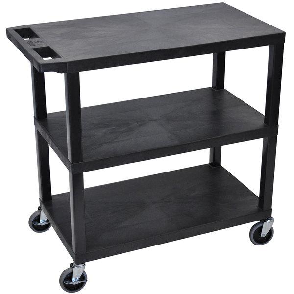 "Luxor EC222-B Black 3 Flat Shelf Utility Cart - 32"" x 18"""