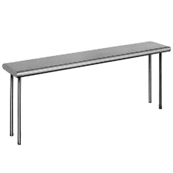 "Eagle Group OS1072-16/4 Table Mount Type 430, 16 Gauge Stainless Steel Single Overshelf - 72"" x 10"" x 18"""