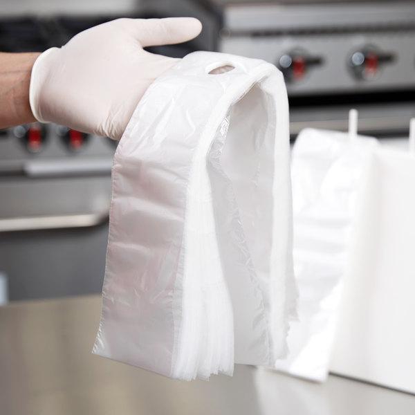 "3 1/2"" x 10"" Unprinted Plastic Deli Saddle Bag with Flip Top - 2000/Case"