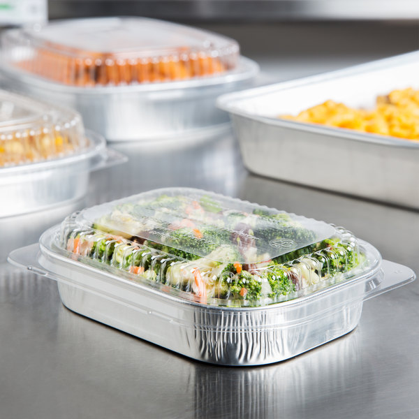 Durable Packaging 9220-SL-100 16 oz. Smooth Silver Mini Foil Entree / Take Out Pan with Dome Lid - 25/Pack