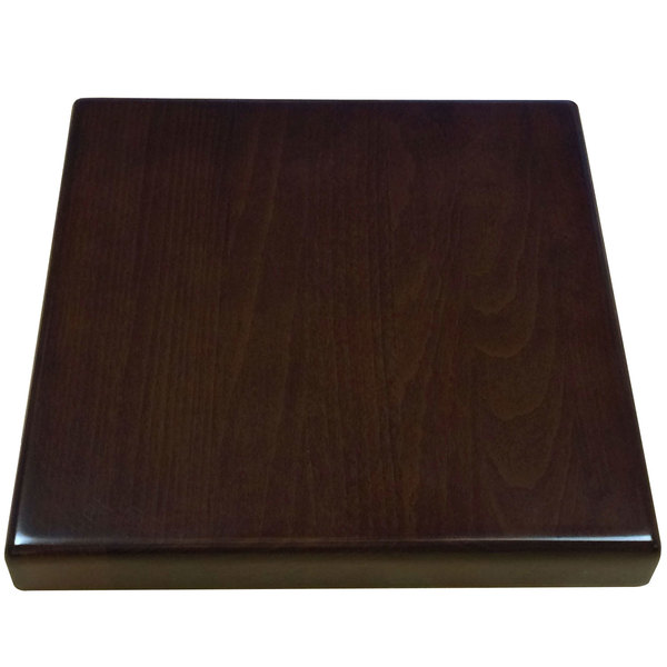 """American Tables & Seating UV3030-50 W 30"""" x 30"""" Square Table Top - Walnut"""