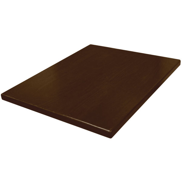 "American Tables & Seating UV2430-50 W 24"" x 30"" Rectangle Table Top - Walnut"