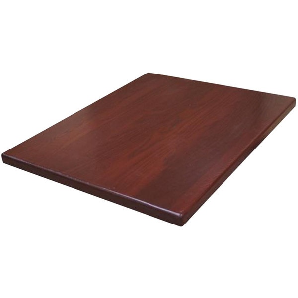 "American Tables & Seating UV3048-50 DM 30"" x 48"" Rectangle Table Top - Dark Mahogany"