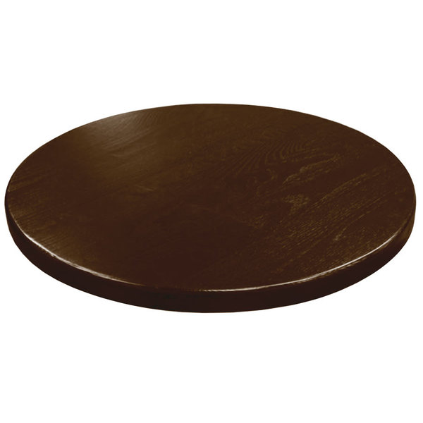 "American Tables & Seating UV48-50 W 48"" Round Table Top - Walnut"