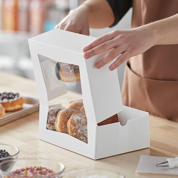 "Baker's Mark 9"" x 7"" x 3 1/2"" White Auto-Popup Window Cake / Bakery Box - 200/Bundle Main Image 6"