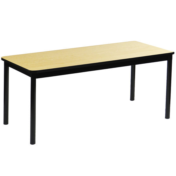 """Correll LR2472-16 24"""" x 72"""" Fusion Maple Library Table - 29"""" Height Main Image 1"""