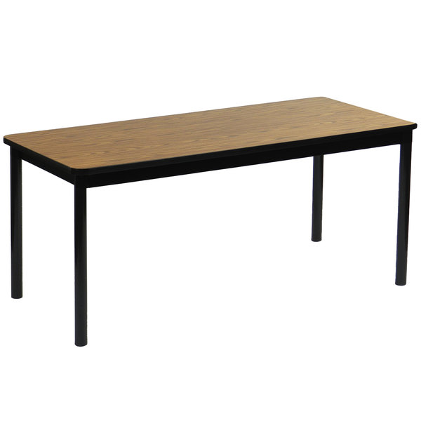 "Correll LR2472-06 24"" x 72"" Medium Oak Library Table - 29"" Height"