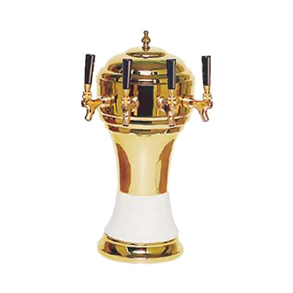 Micro Matic CT901-4BRKR Zeus Brass White Kool-Rite Glycol Cooled 4 Tap Tower