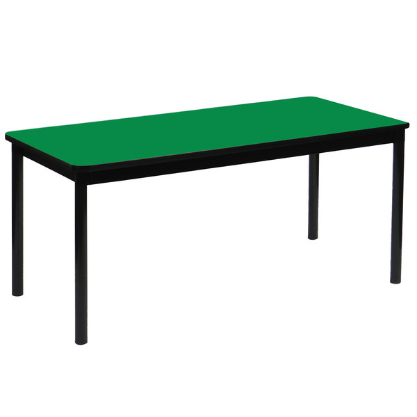 """Correll LR2472-39 24"""" x 72"""" Green Library Table - 29"""" Height"""