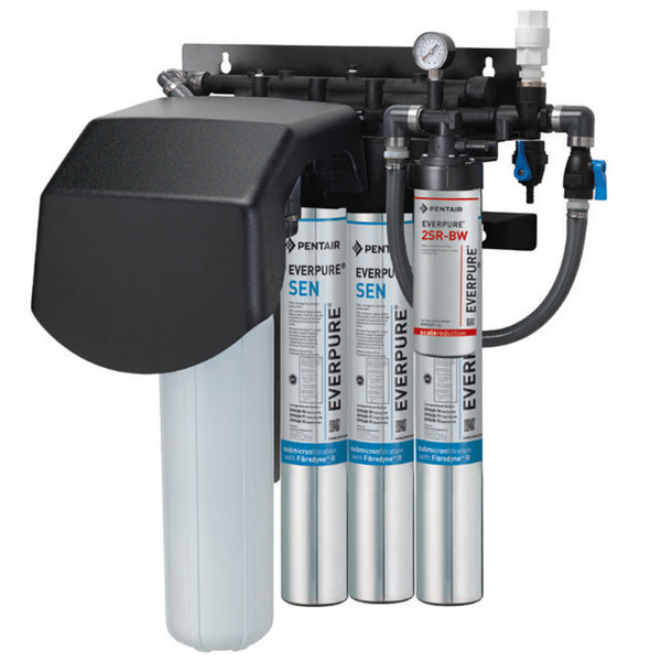 Everpure EV9437-32 Endurance High Flow Quad Water Filtration System with Pre-Filter and Scale Reduction - .2 Micron and 15 GPM Main Image 1