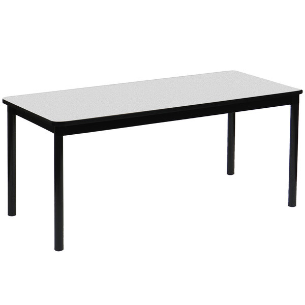 """Correll LR2472-15 24"""" x 72"""" Gray Granite Library Table - 29"""" Height"""