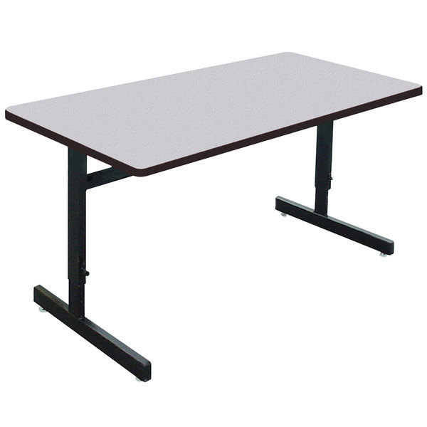 "Correll CSA3072M EconoLine 30"" x 72"" Rectangular Gray Granite Melamine Top Adjustable Height Computer and Training Table"