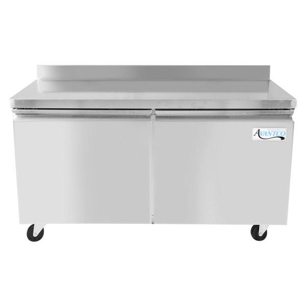 """Avantco SS-WT-60R-HC 60"""" Two Door Worktop Refrigerator with 3 1/2"""" Backsplash"""