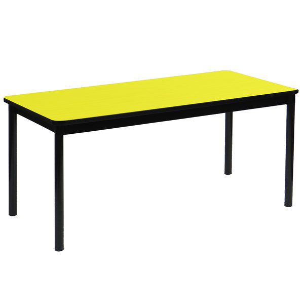 """Correll LR3060-38 30"""" x 60"""" Yellow Library Table - 29"""" Height"""