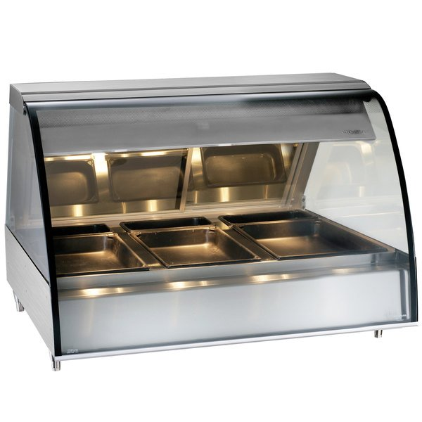 "Alto-Shaam TY2-48 SS Stainless Steel Countertop Heated Display Case with Curved Glass - Full Service 48"" Main Image 1"