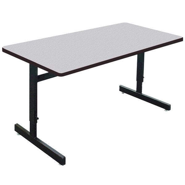 "Correll CSA3060M EconoLine 30"" x 60"" Rectangular Gray Granite Melamine Top Adjustable Height Computer and Training Table Main Image 1"