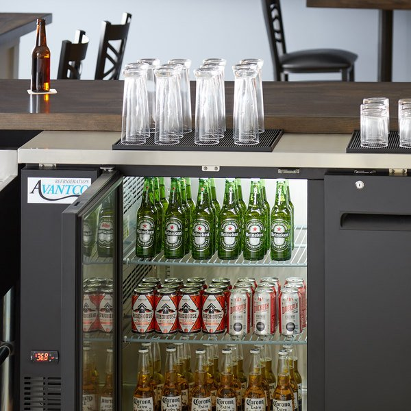 "Avantco UBB-2-HC 59"" Black Counter Height Solid Door Back Bar Refrigerator with LED Lighting"