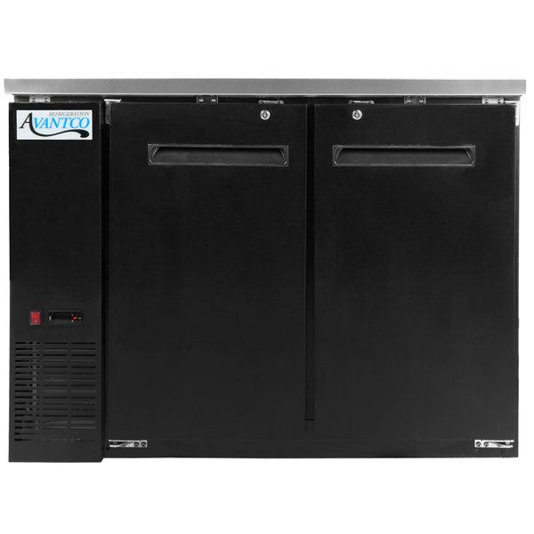 Avantco UBB-48-HC 48 inch Black Narrow Solid Door Undercounter Back Bar Refrigerator with LED Lighting