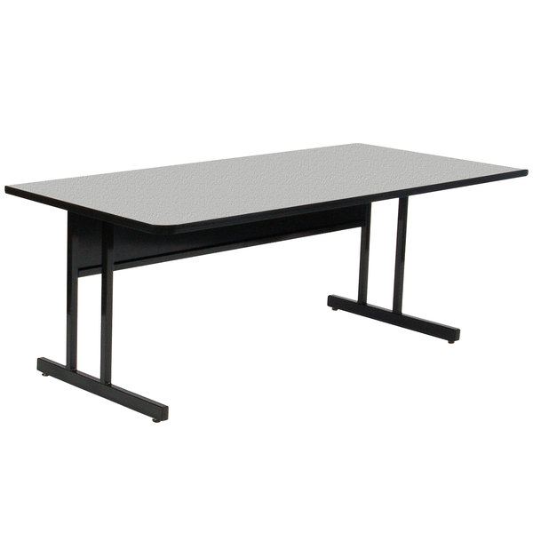 "Correll CS2448M EconoLine 24"" x 48"" Rectangular Gray Granite Melamine Top Keyboard Height Computer and Training Table Main Image 1"