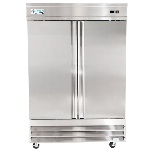 Avantco SS-2F-HC 54 inch Two Section Solid Door Reach-In Freezer