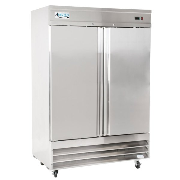 """Avantco SS-2F-HC 54"""" Stainless Steel Two Section Solid Door Reach-In Freezer Main Image 1"""