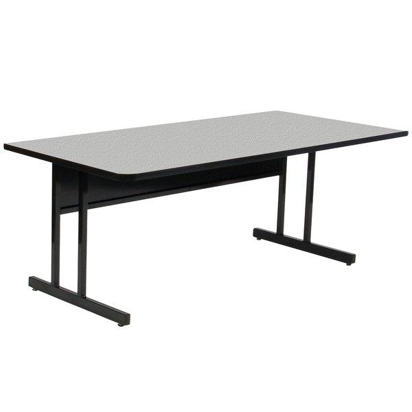"Correll WS3072M EconoLine 30"" x 72"" Rectangular Gray Granite Melamine Top Desk Height Computer and Training Table Main Image 1"