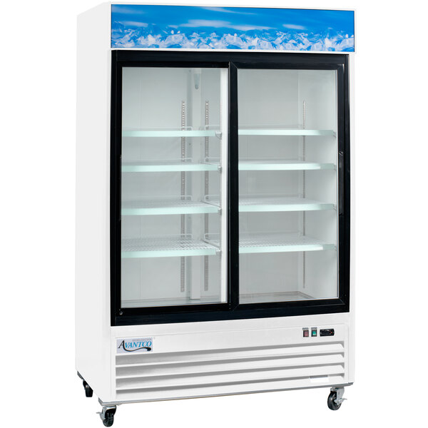"Avantco GDS-47-HC 53 1/8"" White Sliding Glass Door Merchandiser Refrigerator with LED Lighting Main Image 1"
