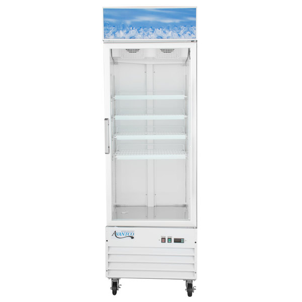 Avantco GDC-12F-HC 27 1/8 inch White Swing Glass Door Merchandiser Freezer with LED Lighting
